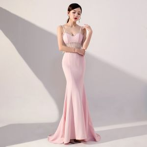 Sexy Candy Pink See-through Evening Dresses  2019 Trumpet / Mermaid Spaghetti Straps Sleeveless Beading Tassel Sweep Train Backless Formal Dresses