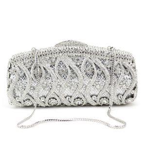 Luxus / Herrlich Silber Clutch Tasche Metall Perlenstickerei Durchbohrt Strass Handgefertigt Hochzeit Cocktail Abend Brautaccessoires 2019