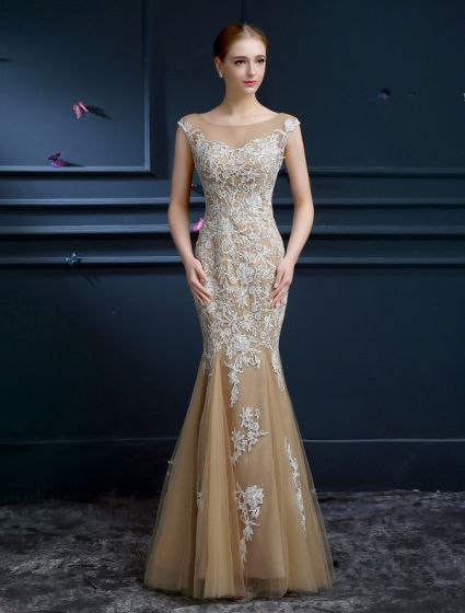Luxury A-line Mermaid Square Neckline Backless Lace Champagne Tulle Evening Dress