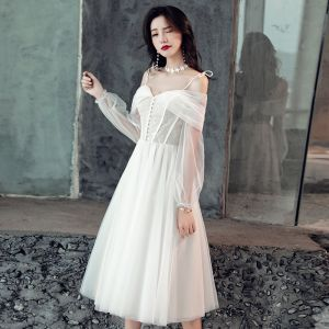 Elegant White Wedding Dresses 2019 A-Line / Princess Lace Spaghetti Straps Backless 3/4 Sleeve Tea-length
