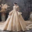 Luxury / Gorgeous Champagne Wedding Dresses 2019 Ball Gown Sweetheart Sleeveless Backless Appliques Lace Sequins Glitter Tulle Cathedral Train Ruffle