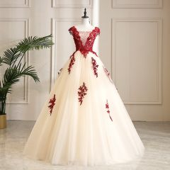 Classy Champagne Prom Dresses 2019 A-Line / Princess Scoop Neck Beading Crystal Lace Flower Sleeveless Backless Floor-Length / Long Formal Dresses