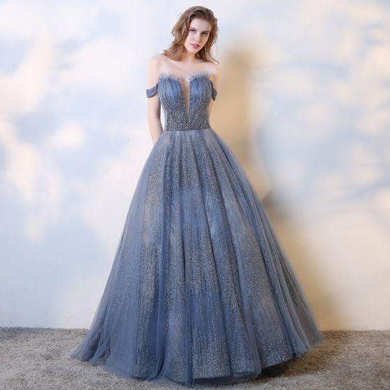 Charmant Océan Bleu Robe De Soirée 2019 Princesse De l'épaule Perlage Paillettes Sans Manches Dos Nu Longue Robe De Ceremonie