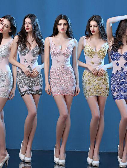 2075967844 Seksowne Sukienki Karnawałowe 2016 Głębokie Serek Cekinami Aplikacja  Koronki Perlenia Rhinestone Backless Mini Sukienka