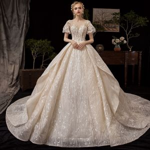 Vintage / Retro Champagne Wedding Dresses 2019 Princess See-through Square Neckline Puffy Short Sleeve Backless Glitter Tulle Appliques Lace Beading Cathedral Train Ruffle