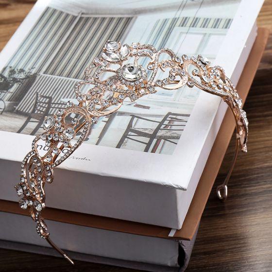 Chic / Beautiful Rose Gold Tiara Bridal Hair Accessories 2020 Alloy Rhinestone Wedding Accessories