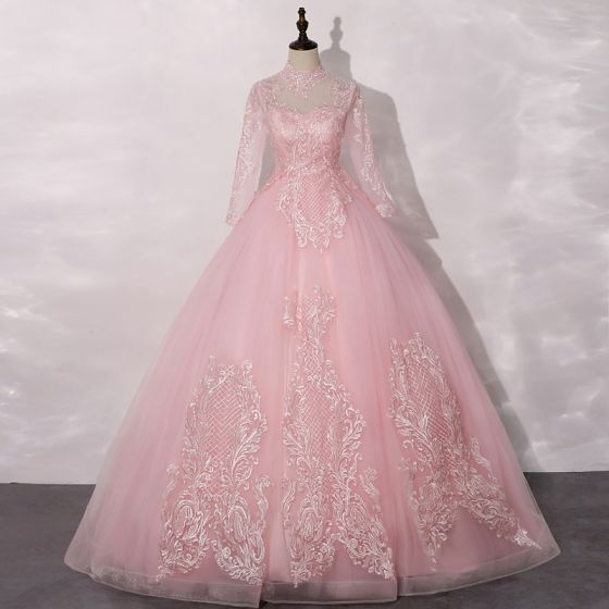 Vintage / Retro Candy Pink See-through Dancing Prom Dresses 2020 Ball Gown High Neck Long Sleeve Appliques Lace Floor-Length / Long Ruffle Formal Dresses