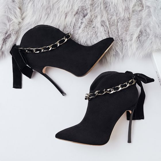 Amazing / Unique Black Casual Womens Boots 2019 Suede Bow 12 cm Stiletto Heels Pointed Toe Boots