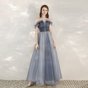 Elegante Himmelblau Abendkleider 2020 A Linie Off Shoulder Kurze Ärmel Glanz Tülle Perlenstickerei Lange Rüschen Rückenfreies Festliche Kleider