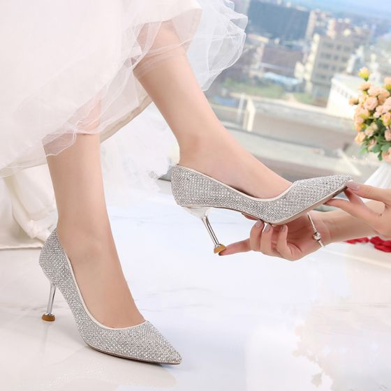 Sparkly Bling Bling Silver Wedding Shoes 2019 8 cm Pointed Toe Cocktail Party Evening Party Polyester Sequined Beading Rhinestone Womens Shoes