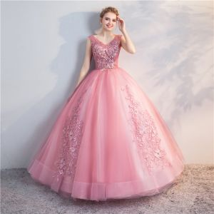 Chic / Beautiful Candy Pink Quinceañera Prom Dresses 2018 Ball Gown Lace Flower Pearl V-Neck Backless Sleeveless Floor-Length / Long Formal Dresses