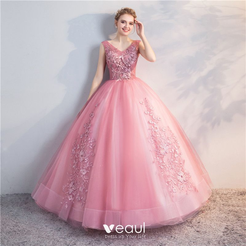 a16ad768b4394 Chic / Beautiful Candy Pink Quinceañera Prom Dresses 2018 Ball Gown ...