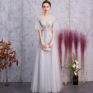 Elegant Silver Evening Dresses  2019 A-Line / Princess V-Neck Rhinestone Lace Flower 1/2 Sleeves Backless Floor-Length / Long Formal Dresses