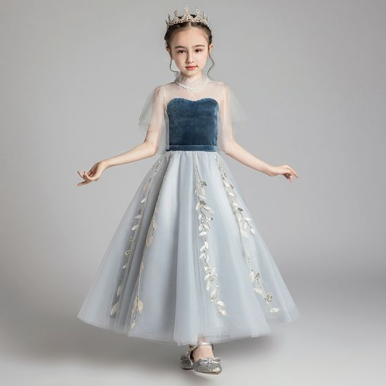 Chic / Beautiful Grey See-through Birthday Flower Girl Dresses 2020 A-Line / Princess High Neck Bell sleeves Appliques Lace Sequins Floor-Length / Long Ruffle Wedding Party Dresses
