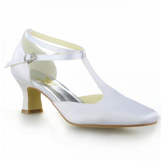 Milieu Talons Bout Pointu T-strap Simples Sandales De Satin Blanc Chaussures De Mariage Mariée