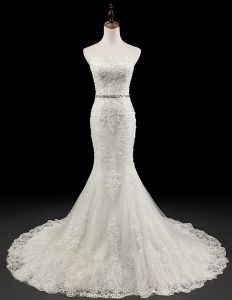 2015 Charming Mermaid Beading Appliques Crystal Sash Wedding Dress Bridal Gown