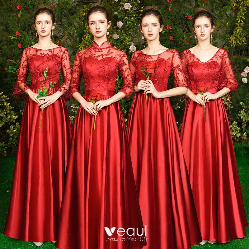 Abordable Rouge Satin Transparentes Robe Demoiselle D Honneur 2019 Princesse Appliques En Dentelle Longue Dos Nu