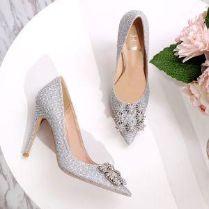 Charming Silver Rhinestone Wedding Shoes 2020 Sequins 10 cm Stiletto Heels Pointed Toe Wedding Pumps