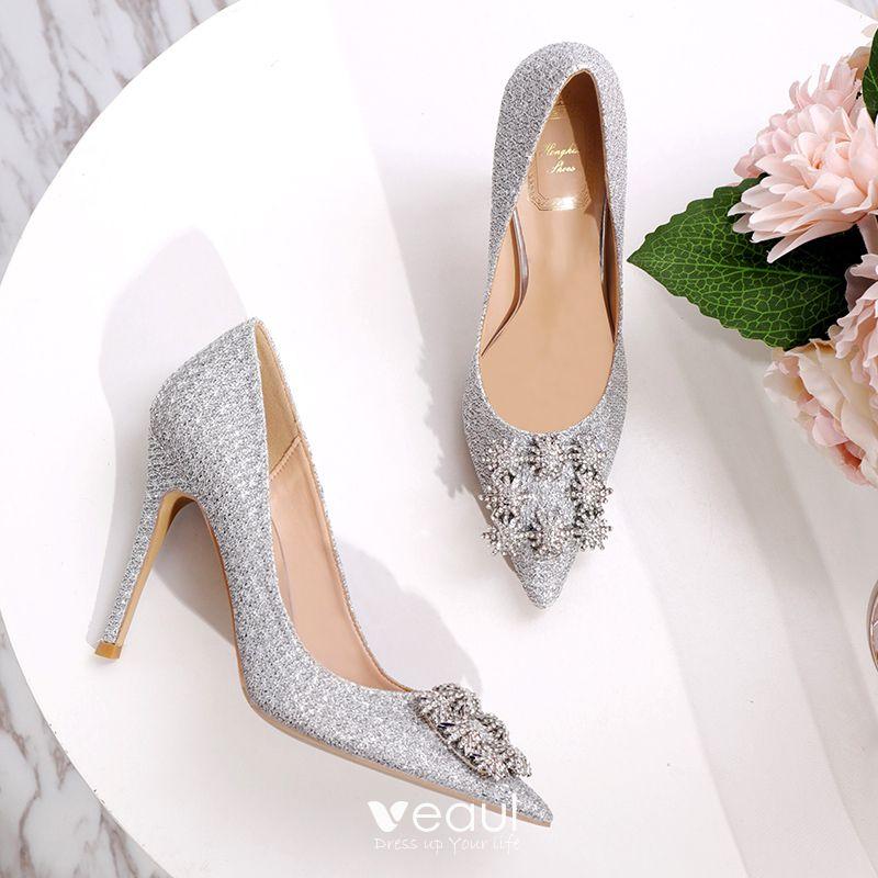 Charming Silver Rhinestone Wedding Shoes 2020 Sequins 10 Cm