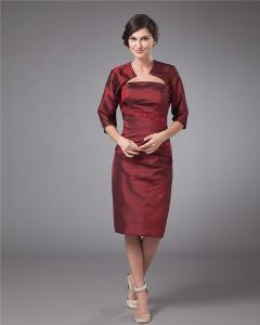 Taffeta Strapless Knee Length Mothers of Bride Guests Dresses