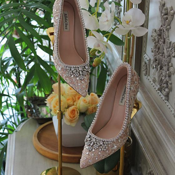 Charming White Lace Rhinestone Wedding Shoes 2021 Leather 7 cm Stiletto Heels High Heels Pointed Toe Wedding Pumps