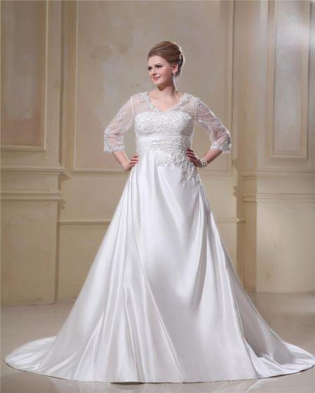 elegante cuello en v tren capilla hilo de satén vestidos de novia