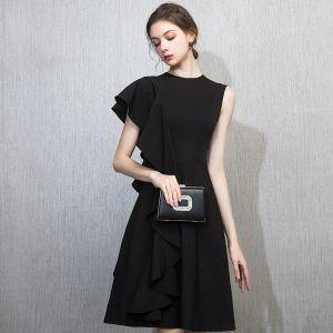 Piękne Czarne Homecoming Sukienki Na Studniówke 2018 Princessa Wycięciem Jedno Ramię Kótkie Rękawy Krótkie Wzburzyć Sukienki Wizytowe
