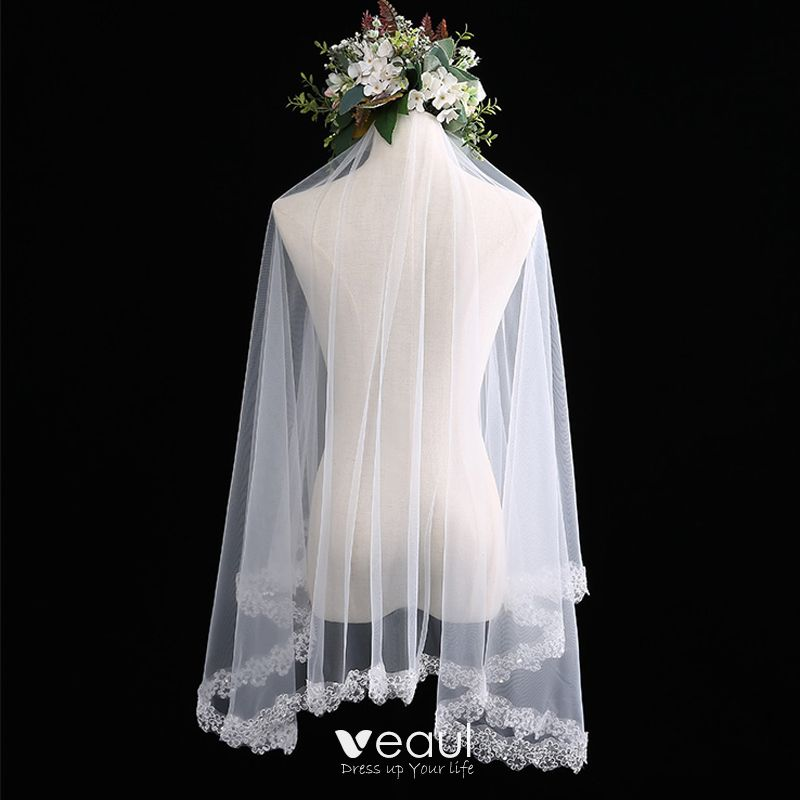Modern / Fashion White Wedding Veils Lace Beading Sequins Short Wedding Accessories 2019