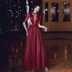 Fashion Burgundy Evening Dresses  2020 A-Line / Princess High Neck Beading Star Sequins 1/2 Sleeves Backless Floor-Length / Long Formal Dresses