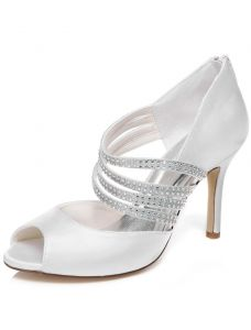 Elegant Wedding Sandals With Rhinestone Strap 9 cm Stiletto Heels Bridal Shoes Peep Toe High Heel