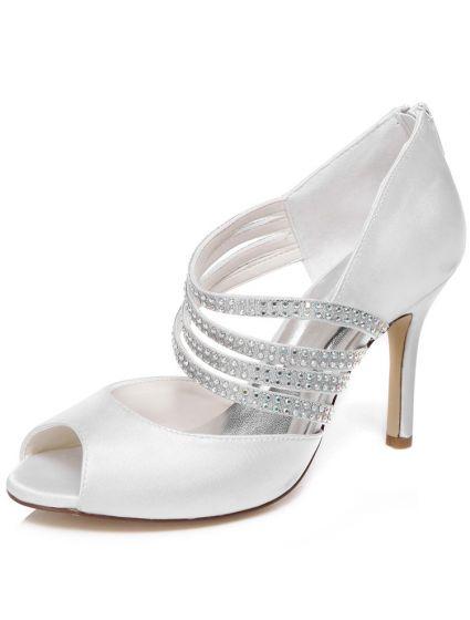 Elegant Wedding Sandals With Rhinestone Strap 9 cm Stiletto Heels Bridal Shoes Peep Toe High Heel