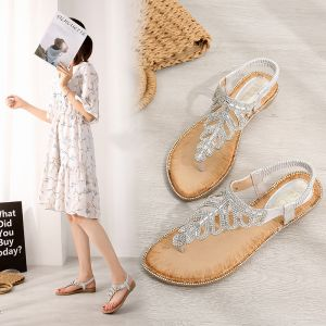 Bohemia Charming Summer Beach Silver Womens Sandals 2020 Rhinestone Open / Peep Toe Sandals