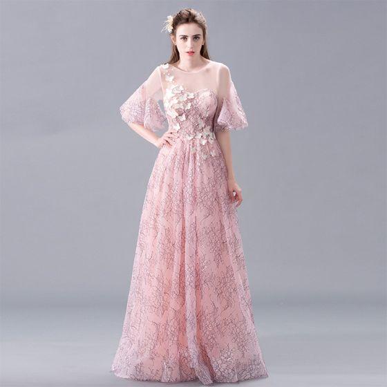 Eleganta Rodnande Rosa Spets Aftonklänningar 2017 Prinsessa Urringning 1/2 ärm Appliqués Blomma Pärla Långa Halterneck Pierced Formella Klänningar