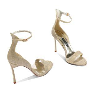 Sexy Glitzernden Gold Abend Sandalen Damen 2020 Leder Knöchelriemen Pailletten 10 cm Stilettos Peeptoes Sandaletten