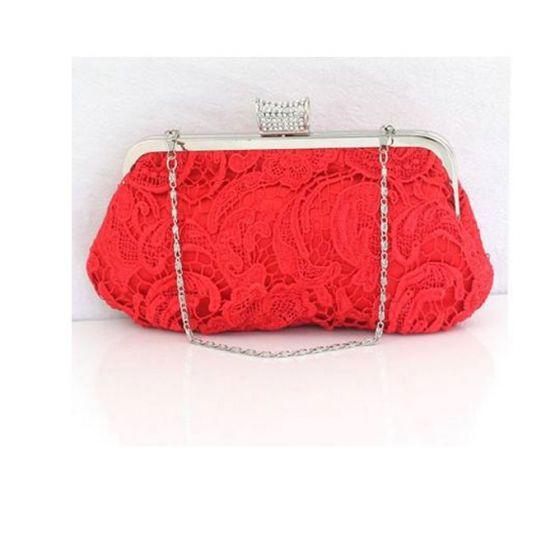 Lace Openwork Design Red Bridal Bag Dress Clutch Bag Clutch Bags