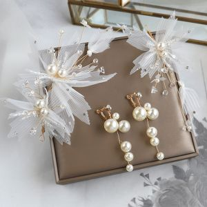 Chic / Beautiful Ivory Silk Flower Bridal Jewelry 2020 Alloy Pearl Crystal Earrings Headpieces Wedding Accessories