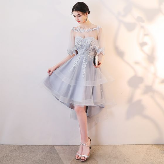 Chic / Beautiful Grey Cocktail Dresses 2019 A-Line / Princess Scoop Neck Lace Appliques 1/2 Sleeves Backless Asymmetrical Formal Dresses