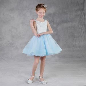 Moda Azul Cielo Verano Vestidos para niñas 2018 A-Line / Princess Scoop Escote Sin Mangas Perla Rhinestone Cortos Ruffle Vestidos para bodas