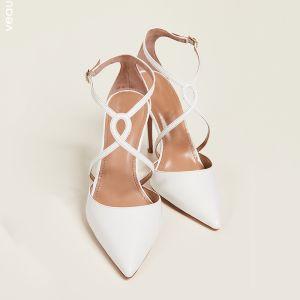 Enkel Ivory Streetwear Sandaler Dame 2020 X-Strap 10 cm Stiletter Spidse Tå Hæle