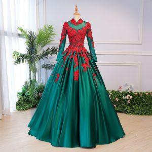 Vintage / Retro Quinceañera Ink Blue Prom Dresses 2018 Ball Gown Lace Appliques Pearl High Neck Backless Long Sleeve Floor-Length / Long Formal Dresses