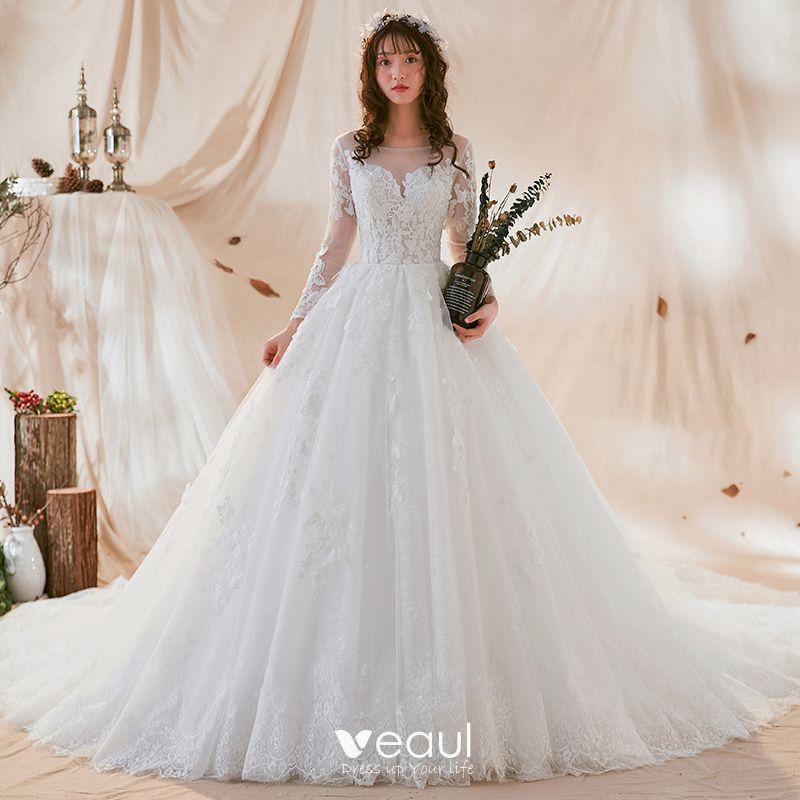 cf62b901f2 Hermoso Blanco Transparentes Vestidos De Novia 2018 Ball Gown Scoop Escote  Manga Larga Sin Espalda Apliques Con Encaje ...