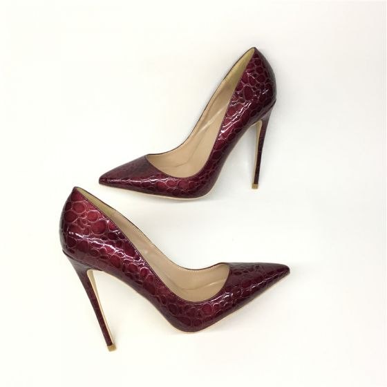 Chic / Beautiful Burgundy Evening Party Pumps 2019 Polyester Alligator Print 12 cm Stiletto Heels Pointed Toe Pumps