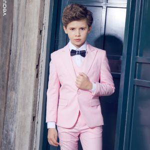 Simple Bleu Marine Cravate Rougissant Rose Boys Wedding Suits 2018