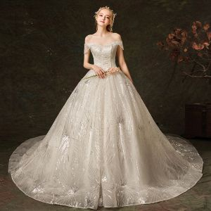 Charming Ivory Wedding Dresses 2019 A-Line / Princess Off-The-Shoulder Sequins Short Sleeve Backless Royal Train