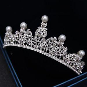 Enkla Silver Tiara 2018 Metall Pärla Rhinestone Bröllop Tillbehör