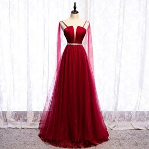 Charming Red Glitter Evening Dresses  2020 A-Line / Princess Spaghetti Straps Sequins Sleeveless Backless Floor-Length / Long Formal Dresses