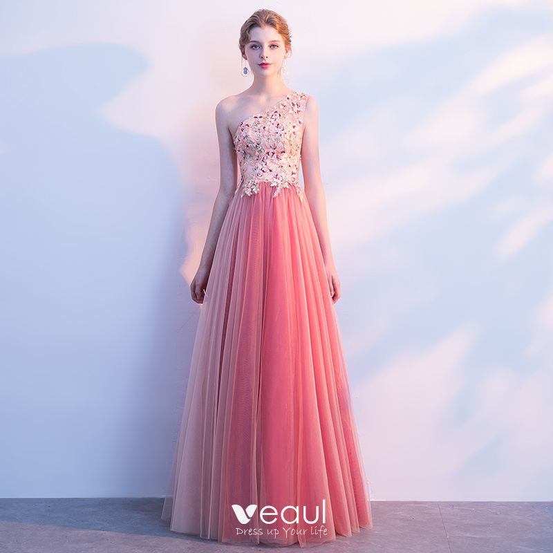 d637339023d0d Chic / Beautiful Watermelon Prom Dresses 2018 A-Line / Princess Lace  Appliques Pearl One-Shoulder Backless Sleeveless ...