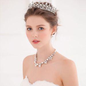 Schmetterling Rhinestoneohrringe / Hand Eingelegten Perlenkette / Brautkrone Dreiteiligen