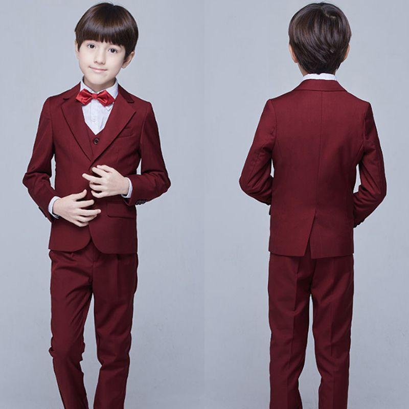 Modern / Fashion Burgundy Long Sleeve Boys Wedding Suits 2017