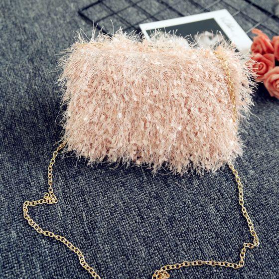 Modern / Fashion Blushing Pink Beading Clutch Bags 2018